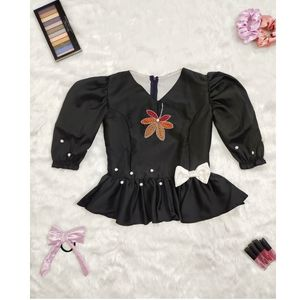 Black hand embroidery top